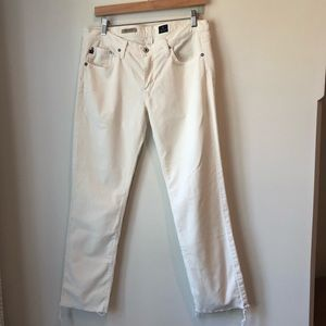 AG The Stevie ivory cords with raw hem size